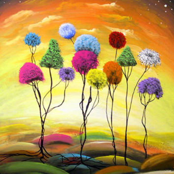 digital art print giclee lollipop tree yellow landscape 8x10 - Mattsart