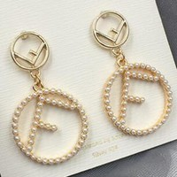 FENDI Stylish Women Creative F Letter Pearl Circle Earrings Accessories Jewelry