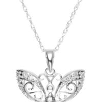 14k Gold Diamond Butterfly Pendant Necklace (0.10 cttw, I-J Color, I2-I3 Clarity), 18""