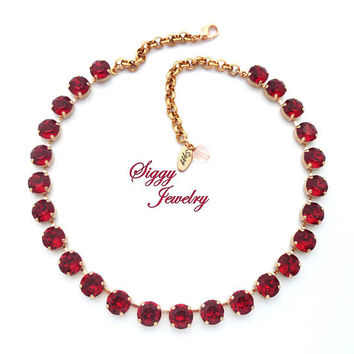 Swarovski Crystal Necklace, 10mm Scarlet, Assorted Finishes and Other Colors Available, ADORING LOVE, Ruby, Siam, Deep Red Sparkle
