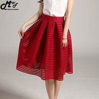 2016 Summer New Style Sexy Fashion Skirt women Striped Hollow-out Fluffy Skirt Swing Skirts Ladies Black Red Ball Gown Long