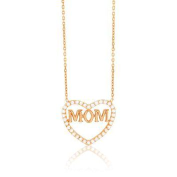 Mom Heart Necklace Rose Gold with Flawless CZ