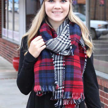 Berkley Reversible Plaid Wrap Scarf {Red Mix}