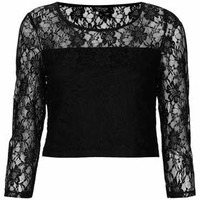Lace 3/4 Sleeve Crop Top - Black