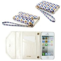 JAVOedge Blue & Purple Polka Dot Wallet Case/Card Holder, Screen Protector, Wristlet for the Apple iPhone 5S / iPhone 5