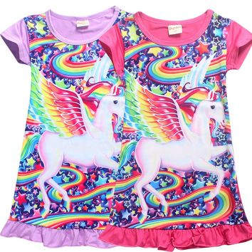 New Baby Girls Unicorn Dress Party Skater Dress Animal Pattern Miraculous Ladybug Clothing Summer  Evening Dress Silk Sleepwears
