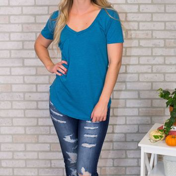 The Pocket Tee- Bright Teal
