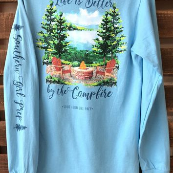 "Southern Girl Prep  ""Life is better by the campfire"" Long Sleeve T-shirt"