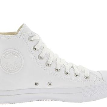 Converse Chuck Taylor® All Star® Leather Hi White Monochrome - Zappos.com Free Shipping BOTH Ways
