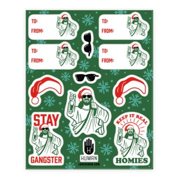 GANGSTER CHRISTMAS JESUS GIFT TAG STICKERS