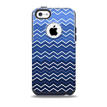 The Blue Gradient Layered Chevron Skin for the iPhone 5c OtterBox Commuter Case