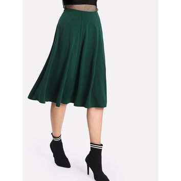 Solid Swing Midi Skirt