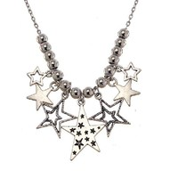 Star Tibetan Silver Pendant Necklace Women Fashion Jewelry 55Cm
