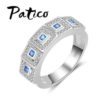 PATICO Fahion Mens Rings 925 Sterling Silver Wedding Rings For Women Simple Blue CZ Crystal Stone Square Finger Rings Big Sizes