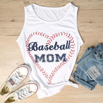 Baseball Mom Tank Crop Top Loose Casual T-Shirt