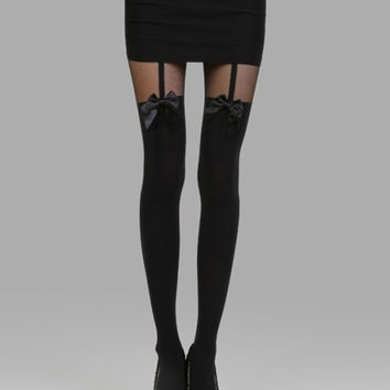Black Bowknot Over the Knee Tights