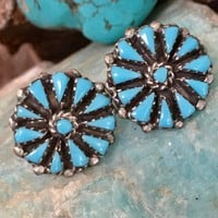 Turquoise Petit Point Pierced Earrings in Sterling Silver