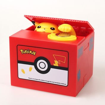 New  Pikachu Electronic Plastic Money Box Steal Coin Piggy Bank Money Safe Box For Kids Gift Desk ToyKawaii Pokemon go  AT_89_9