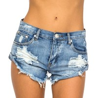 Women's Bandits Denim Short Distressed Cut Off Wrangler Frayed High Rise