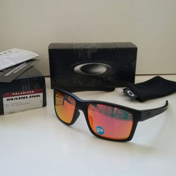 New OAKLEY MAINLINK Matte Black Ruby Iridium POLARIZED Sunglasses Holbrook latch