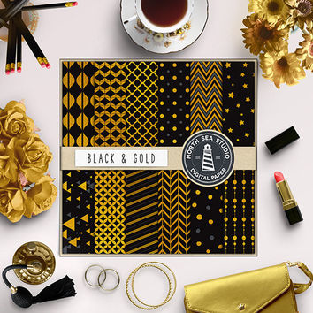 Gold And Black Digital Paper Gold Foil Background Scrapbooking Kit Gold Metallic Paper Gold Shiny Patterns 12x12 Inches Digital Download