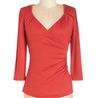 ModCloth Mid-length 3 Seemingly Sew Top in Cinnamon - 3, 4 Sleeves