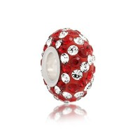 Bling Jewelry Dark Red Crystal Stripe Sterling Silver Bead Fits Pandora