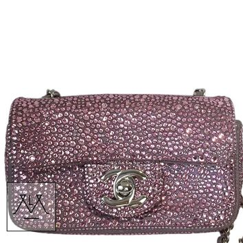 Rare Chanel Mini Bag w/ Pink Swarovski Crystals, silver hardware 100% Authentic