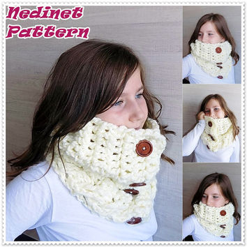 Crochet pattern, Crochet cowl scarf pattern, Cream scarf, Cowl scarf pattern, Child cowl scarf pattern, Woman  cowl scarf, PATTERN