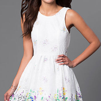 Cheap Short White Party Dress with Multicolor Print