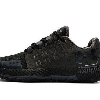 DCCK7JT Ventilation Under Armour UA Charged Core Triple Black Sneakers Men's Basketball Shoes ,
