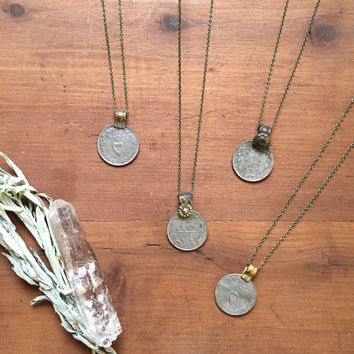 vintage kuchi coin layering necklace ~ tribal, gypsy