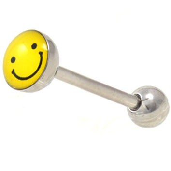 "7MM Yellow/Black Smiley Happy Face Tongue Ring Steel Barbell - 14 Gauge 5/8""(16mm)"