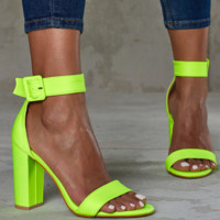 Hot style high-heeled women's sandals with a single-word buckle