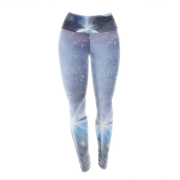 "Infinite Spray Art ""Intergalactic"" Blue Painting Yoga Leggings"