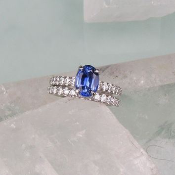 Top Quality Ceylon Blue Sapphire AAA Diamond Accented 14k White Gold Bridal Set Weddings Engagement Anniversary