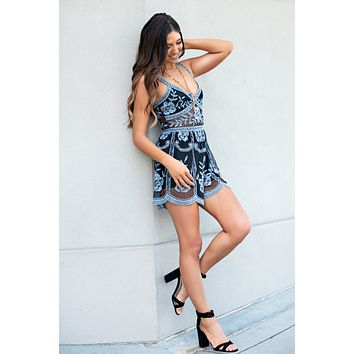 I Have Plans Crochet Romper (Blue/Black)