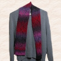 Hand knit lace scarf, by Cathy Creates. Handmade scarf for women