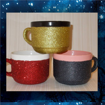 Glitter Coffee Mugs - 22oz stoneware mugs - tea mug - glitter cups - glitter mugs