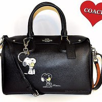 COACH X Peanuts SNOOPY Large Bennett Satchel Bag & Matching Key Chain Charm NWT