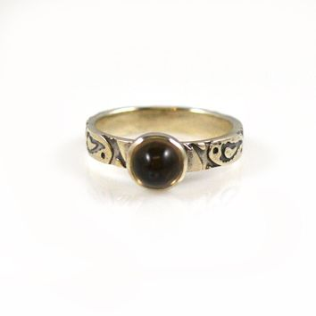 Sterling Silver Stack Ring with Smoky Quartz Size 7