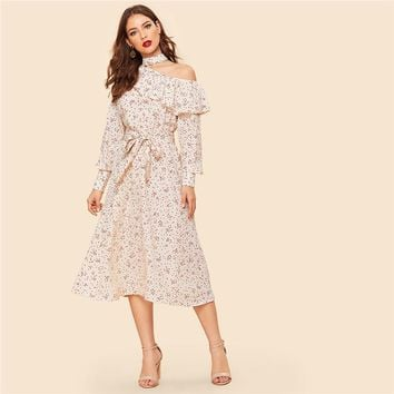 Vintage Apricot Foldover Ruffle One-Shoulder Bishop Sleeve Belted Dress Women Elegant Shift Midi Dresses