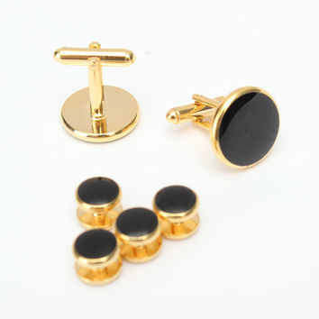 Men Cufflinks Shirt Studs Set Elegant Black White Tuxedo Formal Suit Accessories