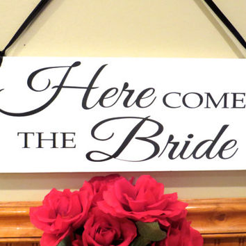 Wedding sign - And they lived happily ever after - Here comes the Bride single or double sided sign