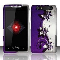 For Motorola Droid Razr Xt912 (Verizon) Rubberized Design Cover - Purple Silver Vines