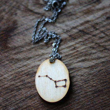 Wooden pendant with a pattern Big Dipper necklace made of natural naterial original stylish and unique gift