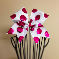 Fuchsia Dot Cheer Bow