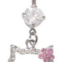 Pink Flower Hello Kitty Cz Head dangle Belly navel Ring piercing bar body jewelry