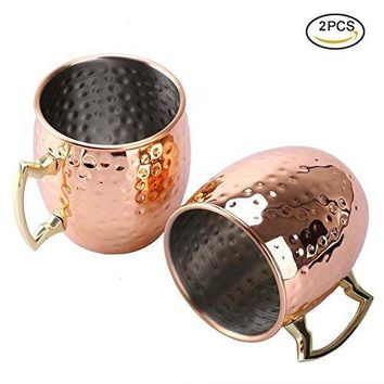 Uarter Solid Moscow Mule Copper Mug Set Premium Copper Moscow Mule Cups Pure Copper Mule Cups with Stainless Steel Lining Suitable for Hot and Cold Beverages Set of 2