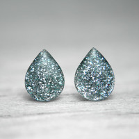 raindrop post earrings in shimmery light blue by tinygalaxies